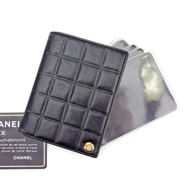 【中古】 シャネル CHANEL カードケース カードホルダー レディース メンズ 可 チョコバー ブラック×ゴールド レザー ヴィンテージ 美品 T2508 .