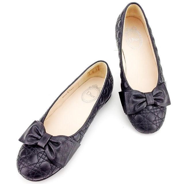 【中古】 ディオール Dior パンプス シューズ 靴 大人可 ガールズ レディース ♯33 リボン付き レディディオール キッズ ブラック レザー 美品 T2520 .