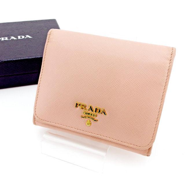 9c64b000cf23 【中古】 プラダ PRADA 三つ折り財布 財布 レディース ロゴ ピンク×ゴールド サフィアーノレザー