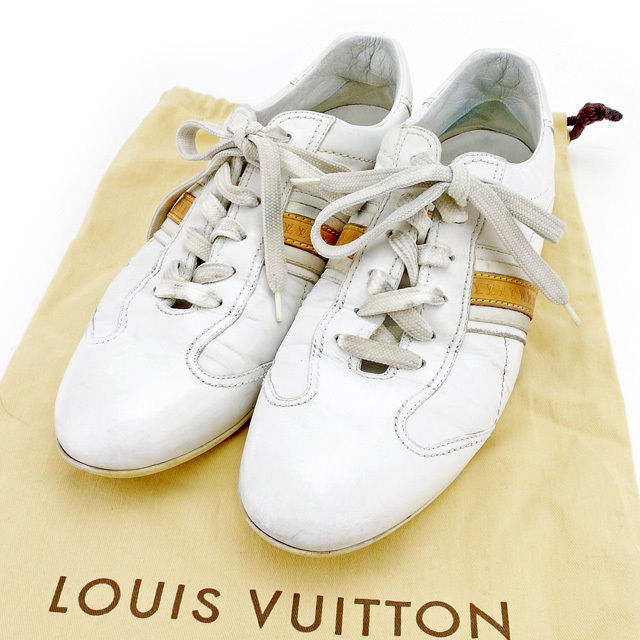 Sale T2558 which there is Louis Vuitton Louis Vuitton sneakers shoes shoes  men ♯ 6 half low-frequency cut LV line white X beige leather reason in. 48addae4c3cd