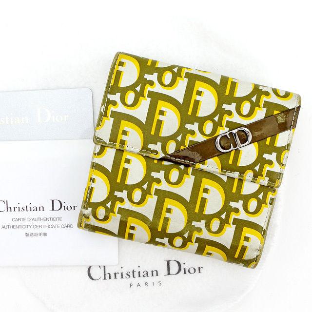 【中古】 ディオール Dior Wホック財布 財布 二つ折り財布 レディース メンズ 可 トロッター ホワイト×カーキ×イエロー系 レザー×エナメルレザー 人気 T2605 .