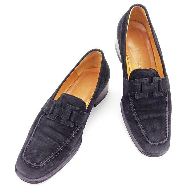 【中古】 エルメス HERMES ローファー シューズ 靴 レディース ♯35ハーフ Hマーク コンスタンス ブラック スエード 良品 T2636 .