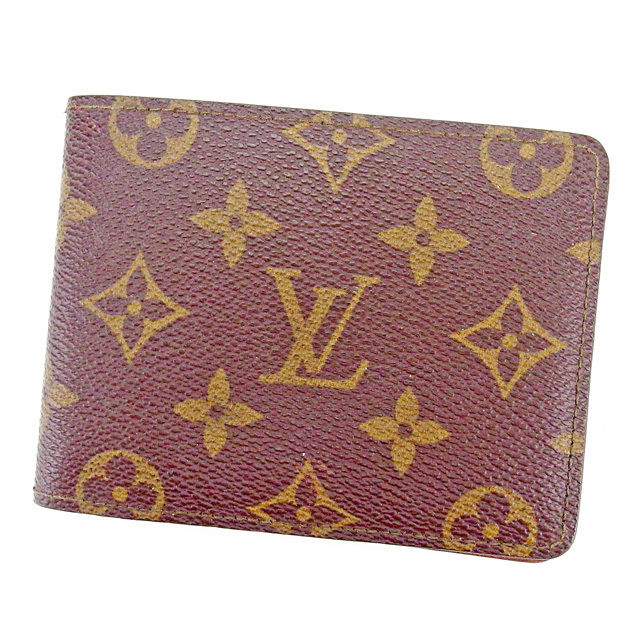 【中古】 ルイ ヴィトン LOUIS VUITTON 二つ折り札入れ 二つ折り財布 財布委 メンズ可 ポルトフォイユミュルティプル モノグラム ブラウン系 PVC×レザ- 美品 T2684 .