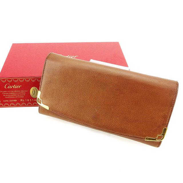 【中古】 カルティエ Cartier ジップ長財布 長財布 二つ折り財布 財布 メンズ可 ブラウン×ゴールド レザー×ゴールド素材 人気 良品 T2723 .