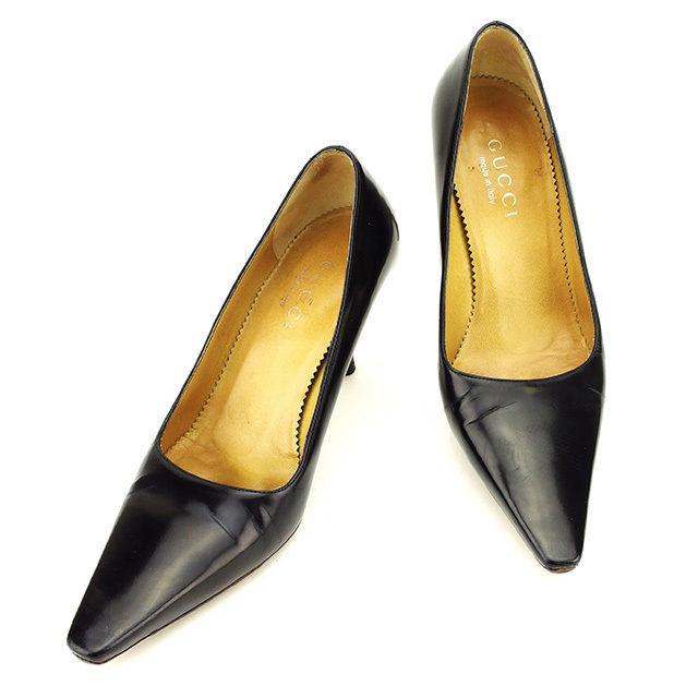 【中古】 グッチ GUCCI パンプス #35 1/2 靴 レディース ブラック パテントレザー 人気 良品 T2724 .
