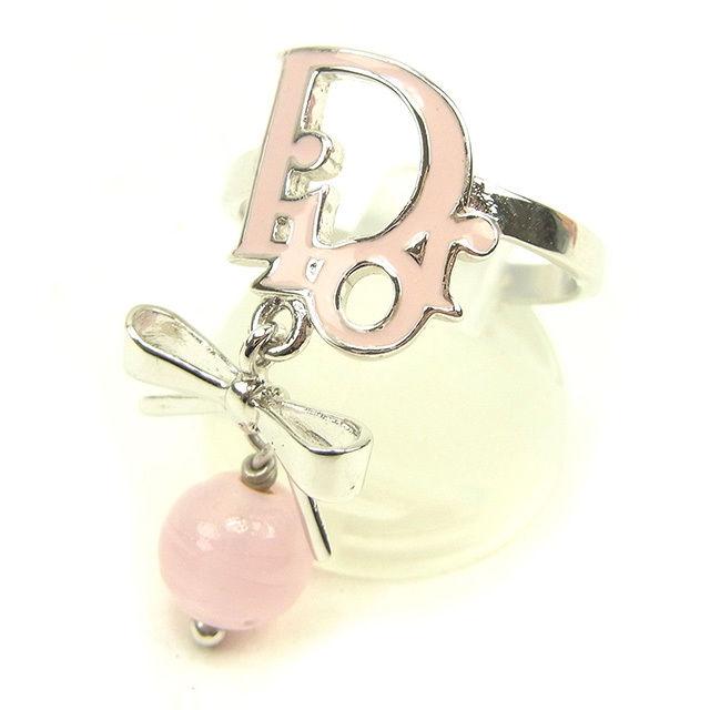 【中古】 ディオール Dior 指輪 リング アクセサリー レディース ♯13号 ロゴ×リボン シルバー×ピンク 美品 T274 .