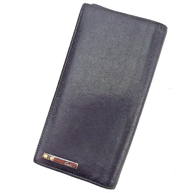 【中古】 カルティエ Cartier ジップ長財布 長財布 二つ折り財布 財布 メンズ可 ブラック レザー 人気 良品 T2741 .