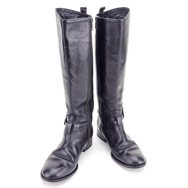 【中古】 トリバーチ Tory Burch ブーツ #7 ロングブーツ メンズ可 ブラック レザー 人気 良品 T2742