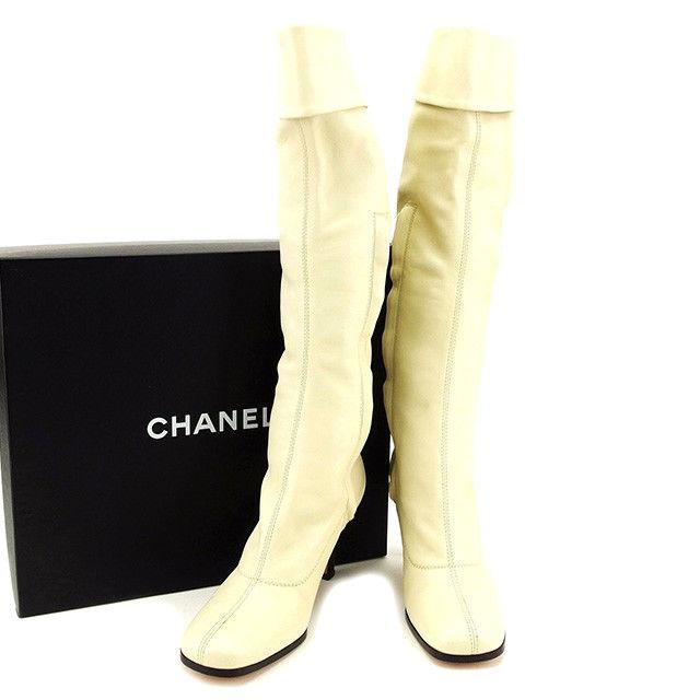 【中古】 シャネル CHANEL ブーツ #36 メンズ可 ココマーク アイボリー ラムスキン 人気 T2758 .