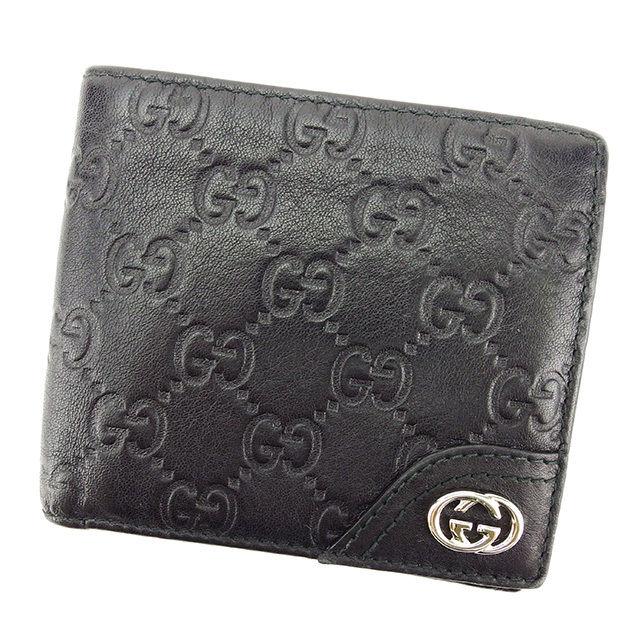 【中古】 グッチ Gucci 二つ折り 財布 レディース メンズ 可 グッチシマ ブラック レザー 人気 T2771 .