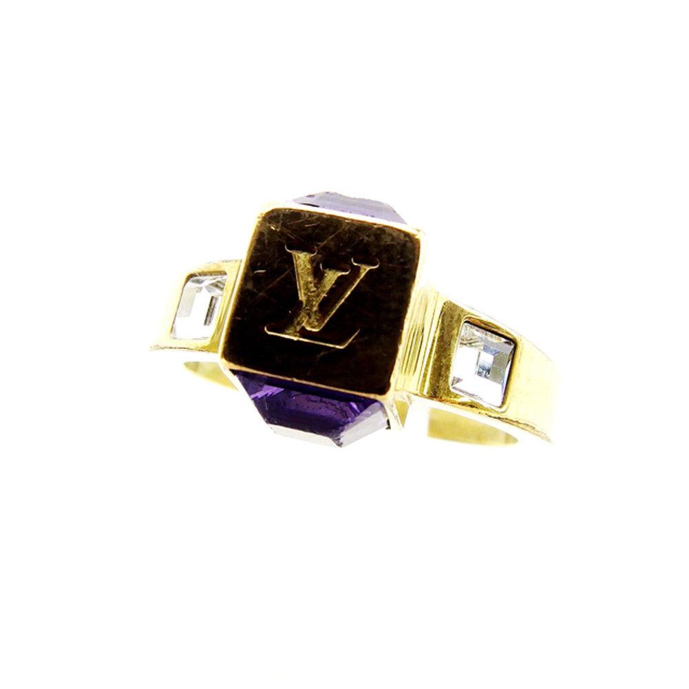 【中古】 ルイ ヴィトン Louis Vuitton 指輪 リング レディース バーグギャンブルリング ラインストーン ゴールド×パープル 人気 T2776 .