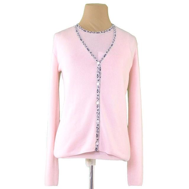 【中古】 ディオール Dior カーディガン ニット レディース 柄パイピング アンサンブル ピンク系 カシミア70%シルク30% 美品 T2789