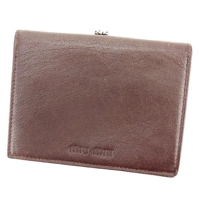 【中古】 ミュウミュウ miumiu がま口 財布 二つ折り 財布 レディース メンズ 可 ブラウン レザー 人気 良品 T2798