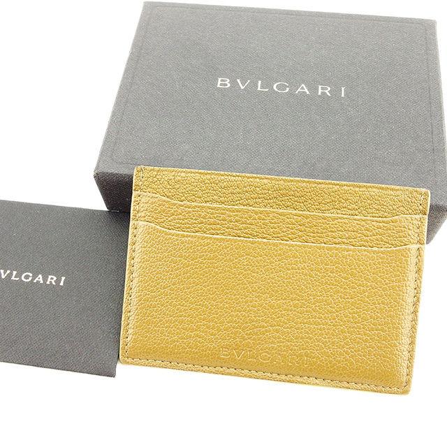 【中古】 ブルガリ BVLGARI カードケース パスケース レディース メンズ 可 ロゴ ベージュ レザー 人気 良品 T2810 .