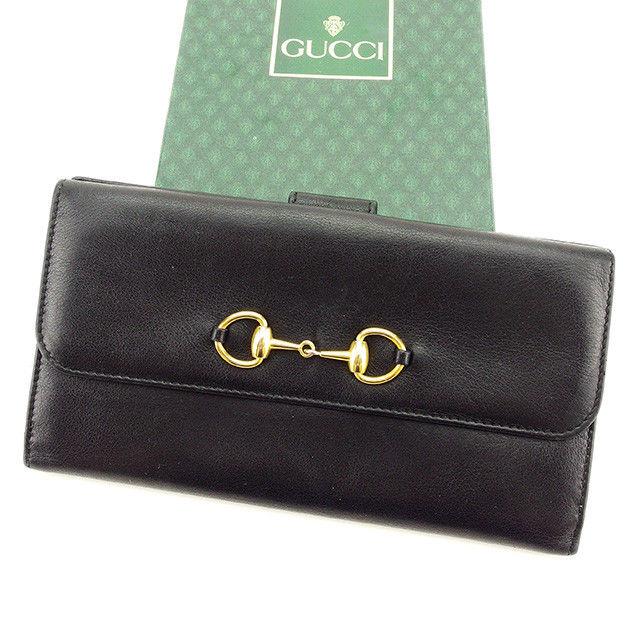【中古】 グッチ Gucci 長財布 Wホック レディース メンズ 可 ビット金具 ブラック×ゴールド レザー 人気 T2811