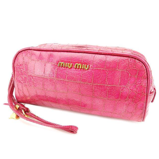 【中古】 ミュウミュウ miumiu 化粧ポーチ 化粧ポーチ レディース ピンク PVC×レザー T2823