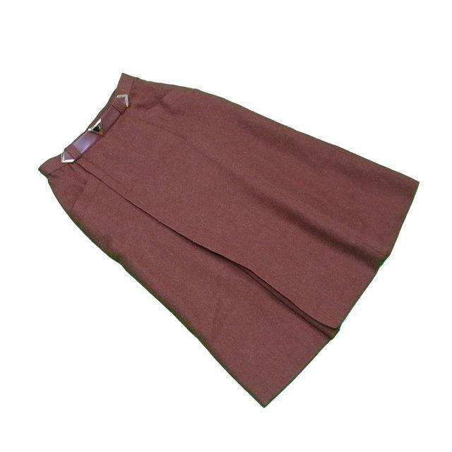 【中古】 ディオール Dior スカート ロング フレアー レディース ♯Sサイズ ウエストベルト ブラウン×ゴールド 毛100%(裏地)キュプラ100% 良品 T292 .
