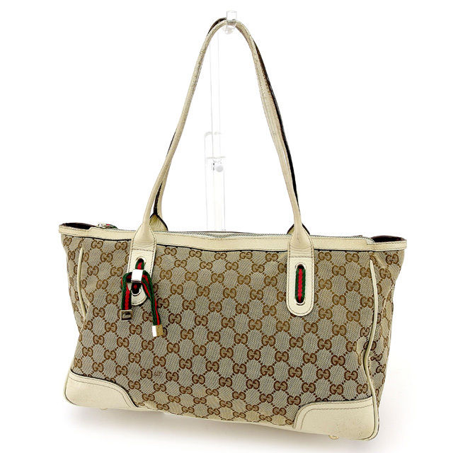 d29d25649a9 Gucci GUCCI tote bag shoulder bag men s possible GG pattern brown X white  canvas X leather popularity sale T295