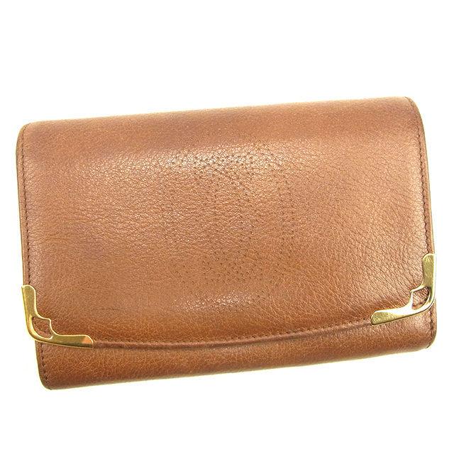 【中古】 カルティエ Cartier L字ファスナー財布 二つ折り財布 メンズ可 マルチェロ ブラウン×ゴールド レザー 良品 T312 .