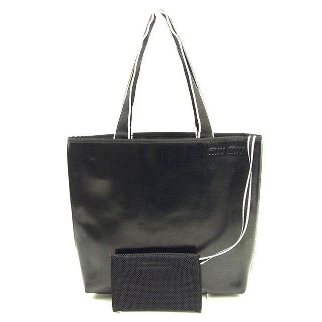 【中古】 ミュウミュウ miu miu トートバッグ ショルダーバッグ メンズ可 ロゴ ブラック×ホワイト レザー 良品 T323