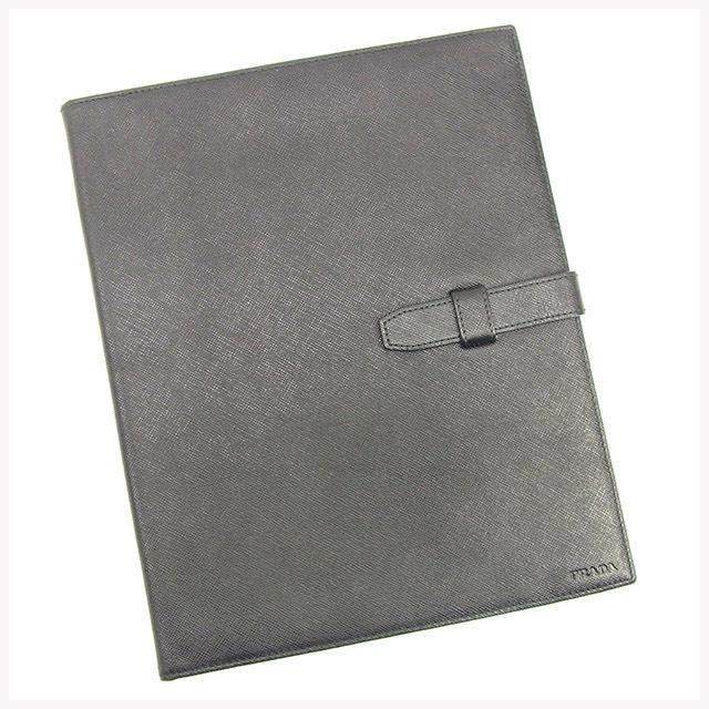 【中古】 プラダ PRADA iPadケース アイパッドケース メンズ可 ロゴ ブラック サフィアーノレザー 良品 T326
