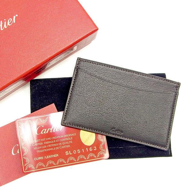 【中古】 カルティエ Cartier カードケース パスケース メンズ可 ロゴ ブラック系 レザー 中古 【未使用】 T374 .