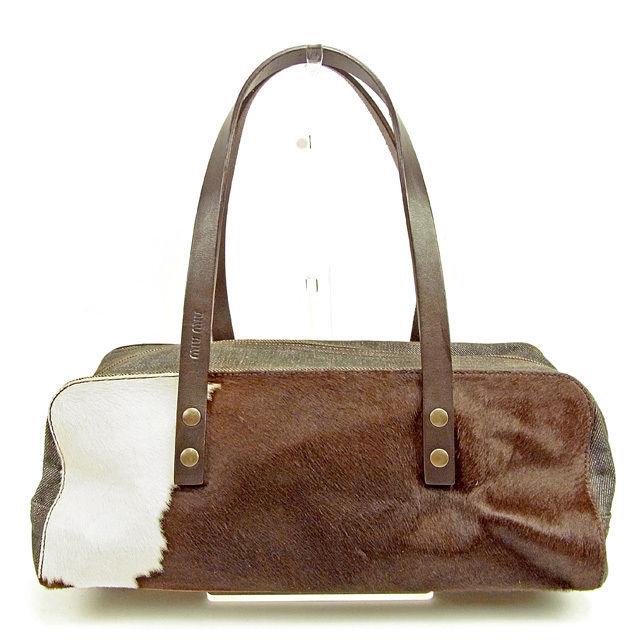 99ae283b18cd Harako X leather X canvas quality goods sale T384 of ミュウミュウ miu miu  shoulder bag men s possible Harako X denim white X Brown line.