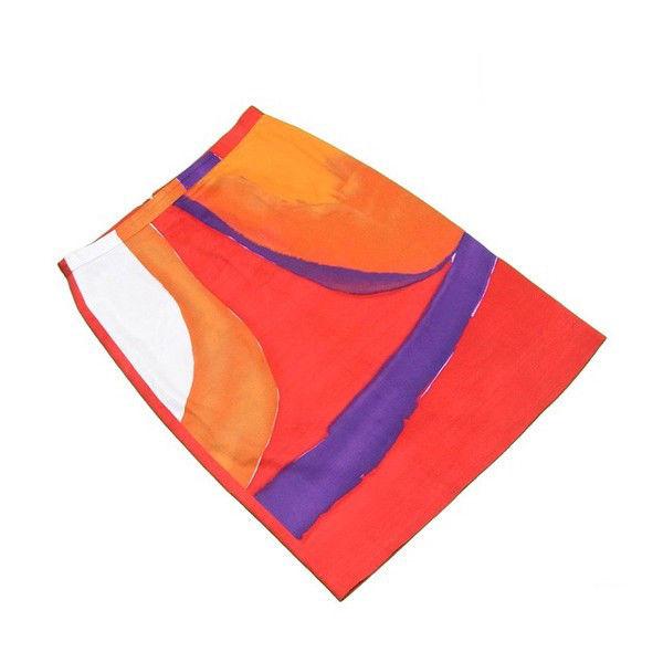 【中古】 マックスマーラ MaxMara スカート タイト レディース ♯USA4サイズ プリント レッド×パープル系 C/97%ET/3%(裏地)RY/93%ET/7% 人気 T415 .