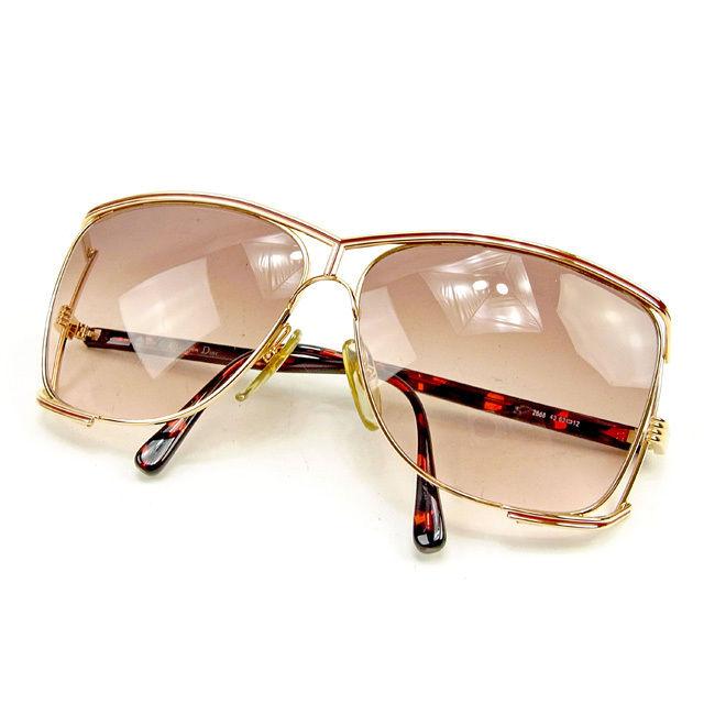 【中古】 ディオール Dior サングラス メガネ メンズ可 サイドCDロゴ入り パイロット型 クリアブラウン×レッド×ゴールド系 プラスチック×ゴールド金具 良品 T419s .