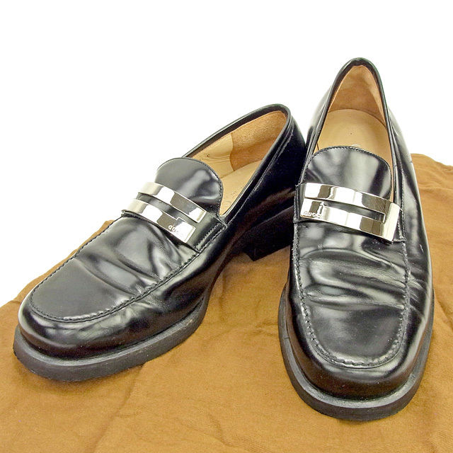 21ec982bc445 Gucci GUCCI loafer shoes shoes Lady's ♯ 36C G mark black X silver leather  quality goods ...