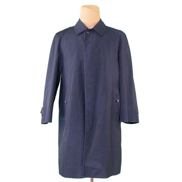 【中古】 バーバリー BURBERRY コート ロング メンズ シングル ステンカラー ネイビー PE/67%C/33% 裏地付き 訳あり T436