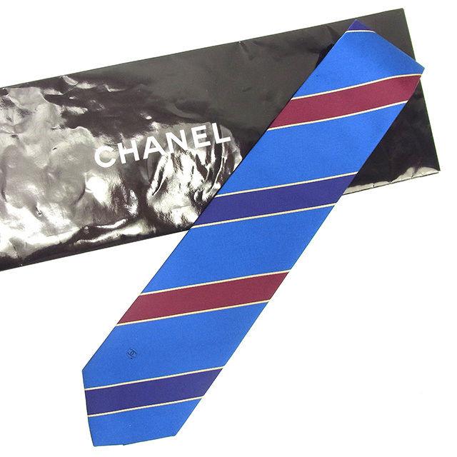【中古】 シャネル CHANEL ネクタイ メンズ レジメンタル ブルー×ネイビー×ブラウン 100%シルク 中古 T458