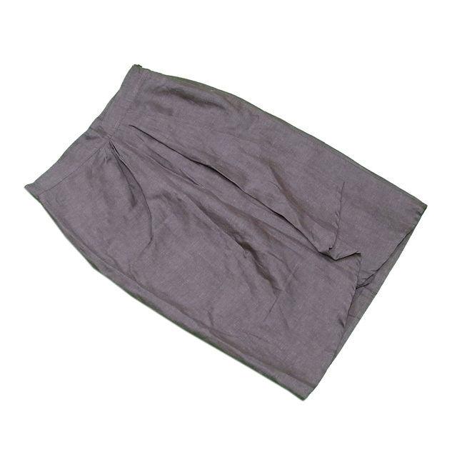【中古】 マックスマーラ MaxMara スカート タイト レディース ♯USA8サイズ 前タック入り ブラウン WOOL/50%LEINEN/50%(裏地)COPRO/100% 美品 T490 .