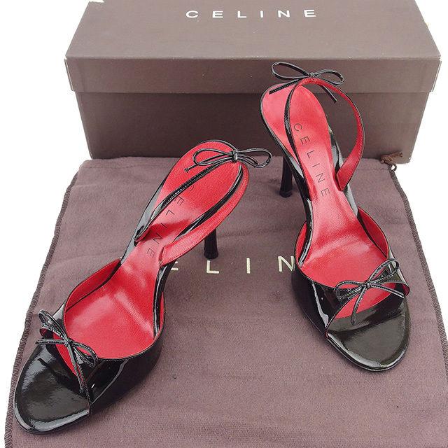 【中古】 セリーヌ CELINE サンダル #36・1 2 レディース ブラック×レッド エナメルレザー T536
