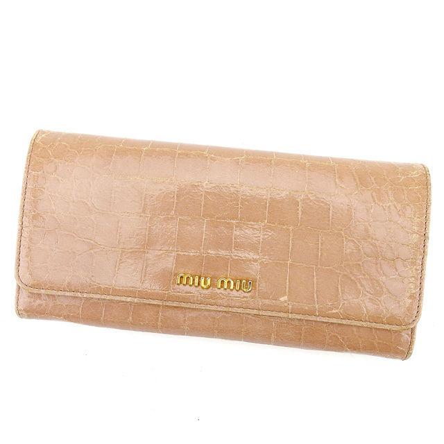 【中古】 ミュウミュウ miu miu ジップ長財布 二つ折り財布 レディース クロコダイル型押し ピンク レザー 人気 良品 T578