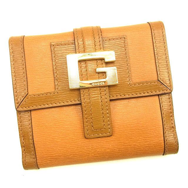 【中古】 グッチ Gucci Wホック財布 二つ折り財布 メンズ可 Gマーク ライトブラウン レザー 人気 T613