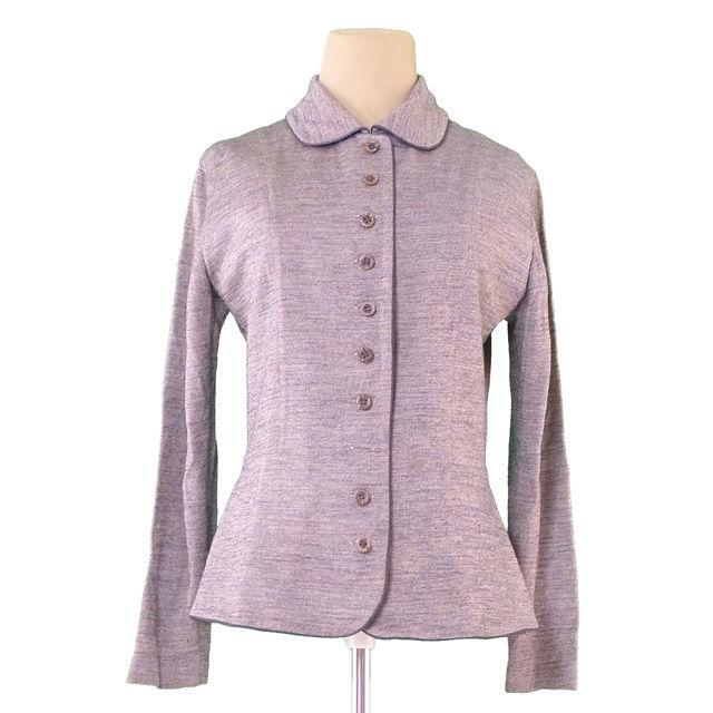 【中古】 ディオール Dior ジャケット ニット レディース ♯Mサイズ シングルボタン グレーミックス 毛56%レーヨン44%(パイピング)合成皮革 訳あり T622 .