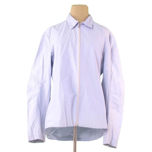 【中古】 プラダ PRADA ジャケット シャツ レディース メンズ 可 ♯Sサイズ シングルZIP ライトブルー COTTON/65%NYLON/35% 人気 T628