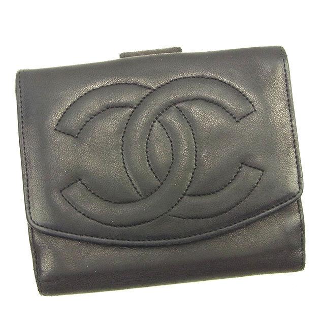 【中古】 シャネル CHANEL Wホック財布 二つ折り財布 レディース メンズ 可 ココマーク ブラック レザ- ヴィンテージ 人気 T630 .