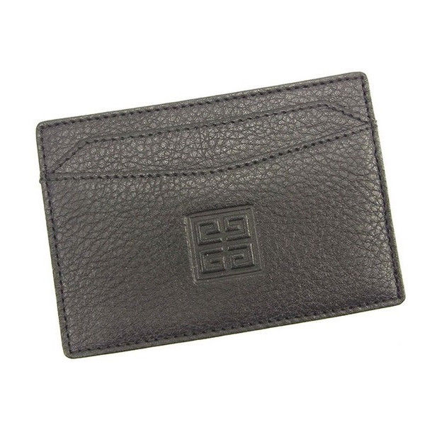 【中古】 ジバンシィ GIVENCHY カードケース パスケース レディース 型押 ブラック レザー 美品 T660