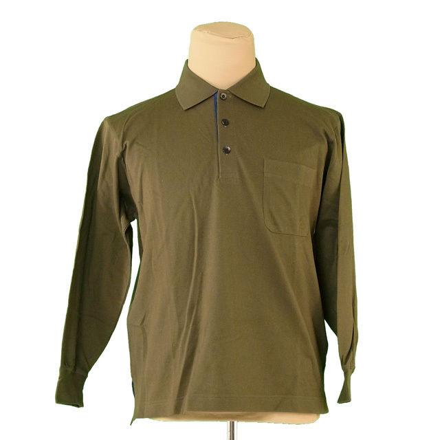 【中古】 ディオール Dior ポロシャツ メンズ ♯Mサイズ 長袖 カーキ 綿100% 良品 T700 .