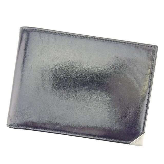 【中古】 プラダ PRADA 二つ折り札入れ チケットケース メンズ可 ブラック レザー 美品 T744 .
