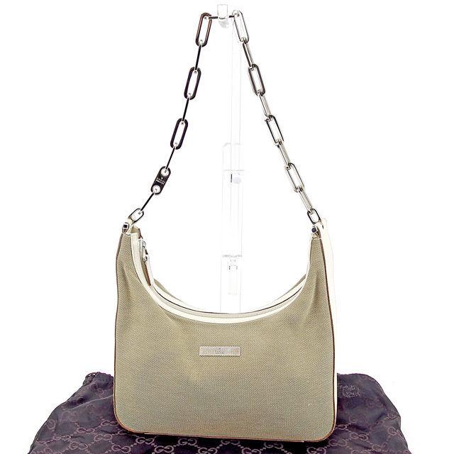 b26f143fa8d3f1 Gucci GUCCI shoulder bag chain shoulder Lady's beige X white X silver  canvas X leather popularity sale T747