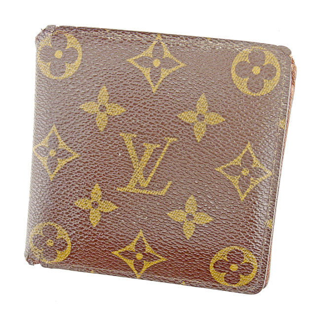 【中古】 ルイ ヴィトン LOUIS VUITTON 二つ折り財布 メンズ可 ポルトフォイユ・マルコ モノグラム ブラウン PVC×レザ- 人気 T781 .
