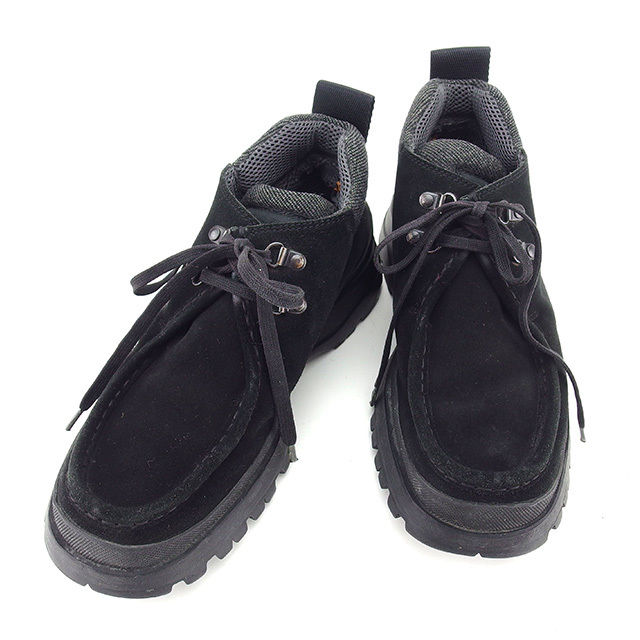 【中古】 プラダ PRADA ブーツ シューズ 靴 メンズ ♯5ハーフ チャッカブーツ ブラック スエード×ラバー 人気 T816 .