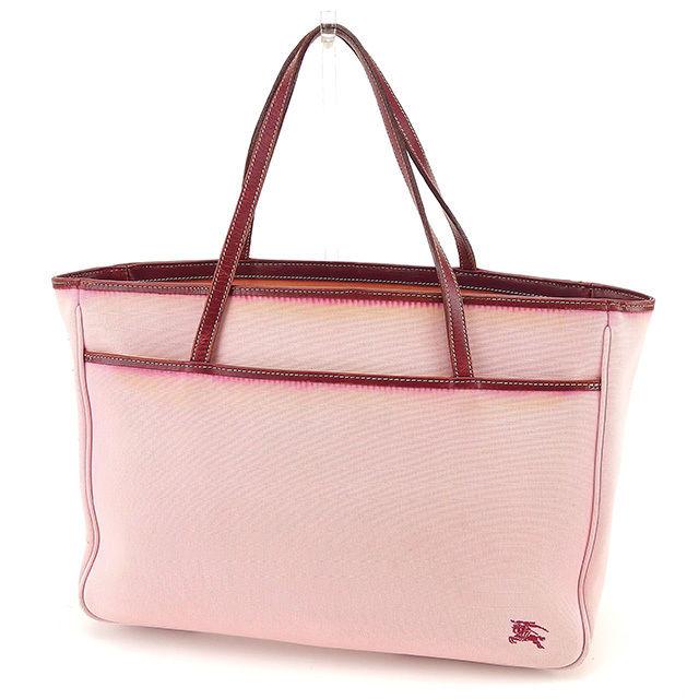 9678ba709761 Burberry blue label BURBERRY BLUE LABEL tote bag handbag Lady s hose mark  pink X Bordeaux canvas X leather popularity sale T817