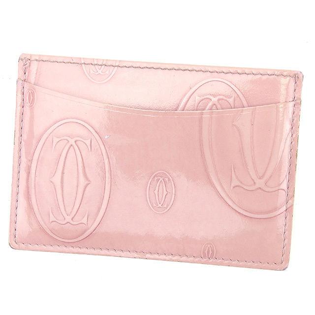 【中古】 カルティエ Cartier カードケース パスケース レディース ハッピーバースデー ピンク エナメルレザー 人気 T818 .
