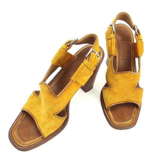 【中古】 プラダ PRADA サンダル シューズ 靴 レディース ♯36 スリングバック ベージュ×ブラウン系 スエード T870