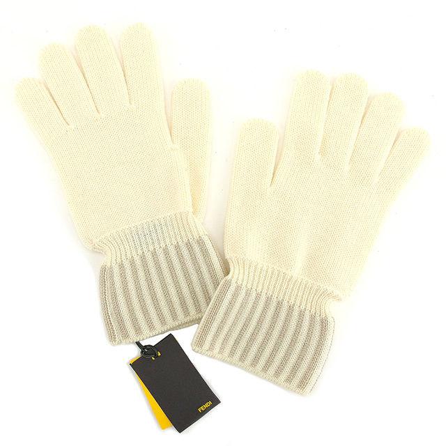 【中古】 フェンディ FENDI 手袋 グローブ メンズ可 アイボリー×ベージュ 毛 100% ウール T875