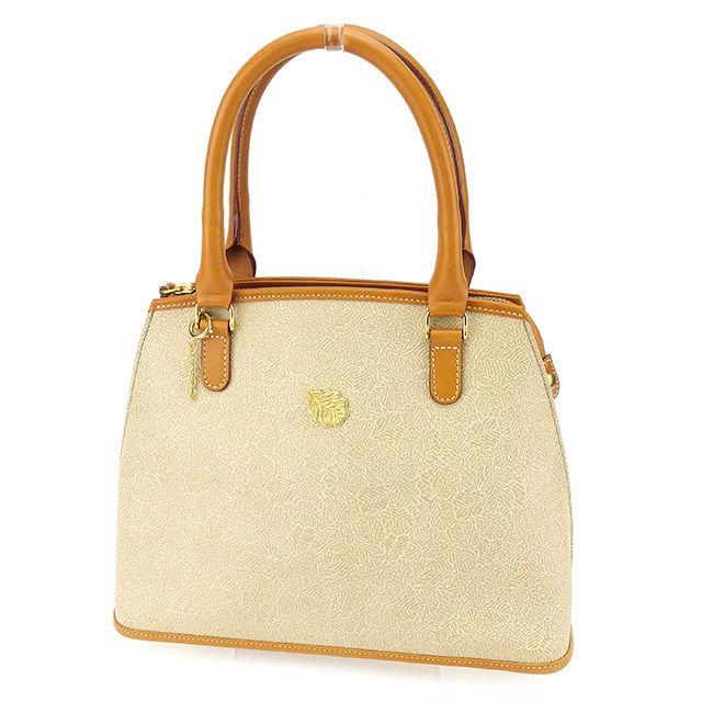 564e180d7e67 Sale T877 which there is Nina Ricci NINA RICCI handbag Lady s leaf plate  beige X camel X gold PVC X leather reason in